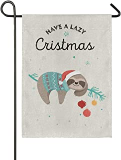 senya Cute Sloths Funny Christmas Burlap Small Garden Flag Double Sided 12 x 18 Inch, House Yard Flags for Outside Farmhouse Outdoor Home Decor