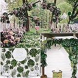 SUNANFBEST 36 Stück Tropische Blätter, Dschungel Deko Palmenblätter Dschungel Strand Thema Party Hochzeit Dekorationen Tischdekoration - 3
