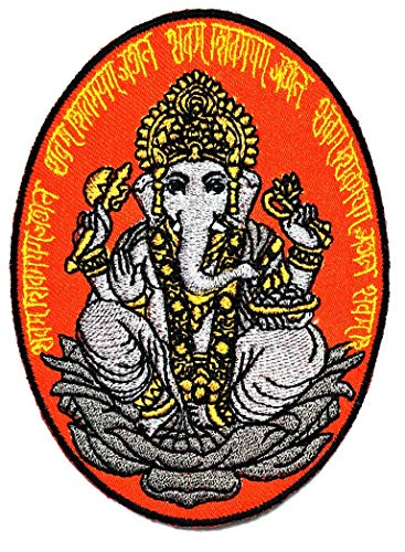 PARITA Buddha Elephant God India Embroidery Patch Cartoon Kids Sew Iron on Embroidered Applique Badge Sign Patch Logo Jacket Polo T-Shirt Hat Bag Clothing (D)