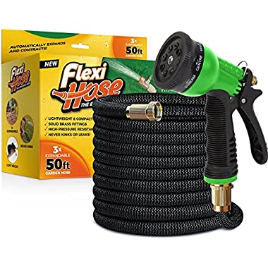 FlexiHose Upgraded Expandable 50 FT Garden Hose, Extra Strength, 3/4  Solid Brass Fittings - The Ultimate No-Kink Flexible Water Hose, 8 Function Spray Included