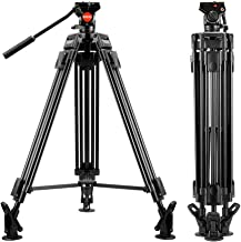 ESDDI VT-60 64 inch Video Tripod Professional Heavy Duty Aluminum Shooting Tripod with Fluid Head for DSLR Camcorder, Max Loading 11.02Lbs/5Kg, Weight 8.7 Lbs/3.95Kg