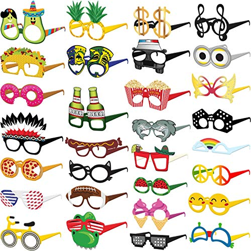 Funny Cardstock Photo Booth Props Glasses - 30 Pack Party Glasses for Adults and Kids - Fun Novelty Party Favors Accessories for Birthdays, Luau and Summer Fiesta