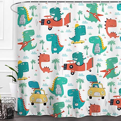 Baccesor Dinosaurier Duschvorhang Cartoon lustig niedlich Tier Märchen Muster Wasserdicht Stoff Badezimmer Vorhang Dekor mit Haken für Jungen Baby Kinder Kinder 60