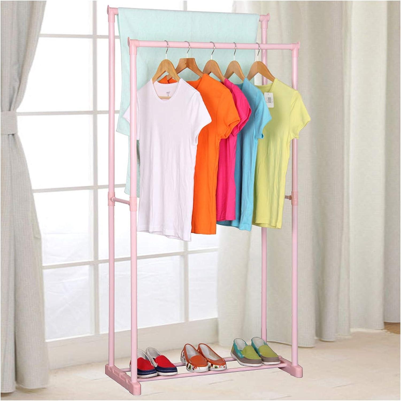 Clothes Hanger Coat Rack Floor Hanger Storage Wardrobe Clothing Drying Racks,Pink