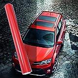 LIOOBO Pellicola vinilica Lucida Pellicola Lucida per Auto con avvolgimento Auto con Involucro Pneumatico per Auto (Rosso)
