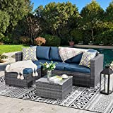 Walsunny Outdoor Furniture Patio Sets,Low Back All-Weather Small Rattan Sectional Sofa with Tea Table&Washable Couch...