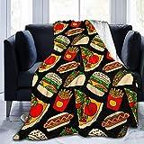 Coperte Super Morbido In Peluche Pizza Burger Hotdog Patatine Fritte Tacos Coperta Plaid in Flanella per Letto e Divano, Leggere, Calde, accoglienti e Resistenti Coperte