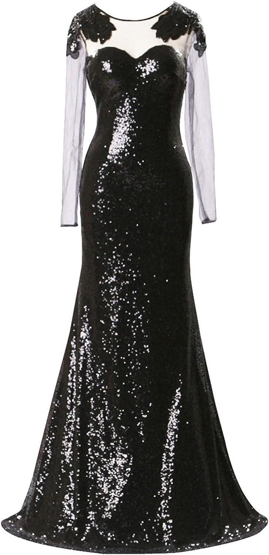 ZVOCY Women's Long Sleeve Evening Dress Black Sequins Long Prom Dress Party Gown