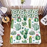 comfort sábanas,Juego de sábanas y fundas de almohada con estampado de plantas tropicales 3D, sábanas de microfibra con bolsillo profundo para cama doble tamaño king-Los 200x200x30cm_3