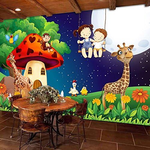 Wall Murals Max 51% OFF Wallpaper Green Forest Moon Room Cartoon Mushroom Inexpensive Gi