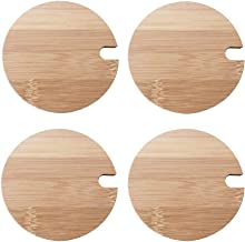 4Pcs Natural Bamboo Mug Lids with Spoon Hole Regular Mouth Mug Cover Heat Resistant Decorative Bamboo Lids Compatible Cup ...