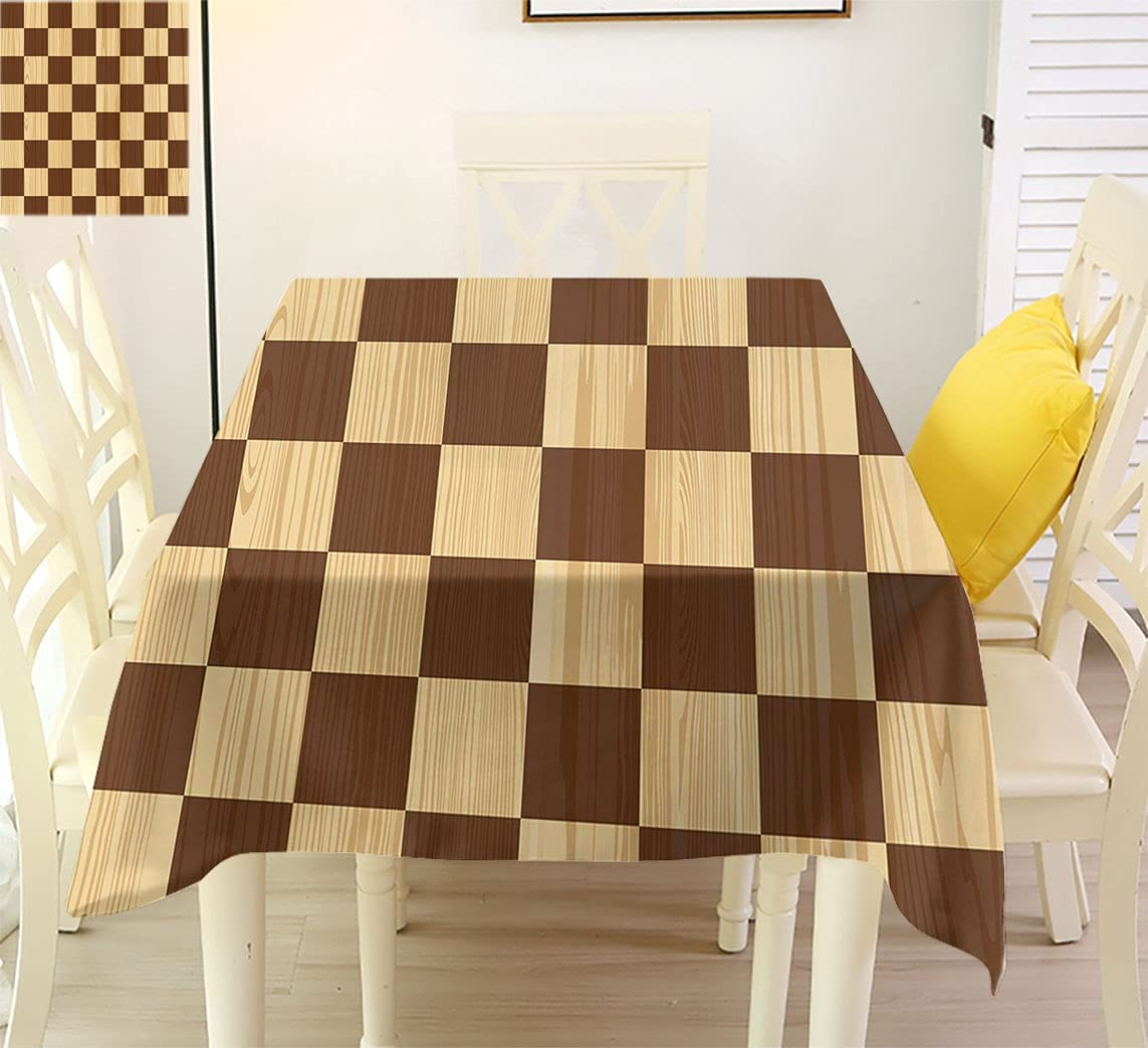 Houston Mall Checkered Classic Pattern Excellence Tablecloth Empty S Checkerboard Wooden