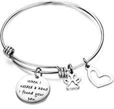 ENSIANTH When I Needed A Hand I Found Your Paw Bracelet Expandable Wire Bangle with Paw Print Charms for Dog Lovers