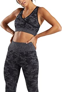 HAODIAN Women's Yoga Outfits 2 Piece Set Camo Seamless Leggings and Sports Bra Gym Exercise