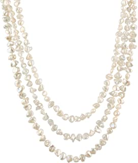 Handpicked A Quality 9-10mm White Egg-shape Freshwater Cultured Pearl Strand Endless 64 Necklace
