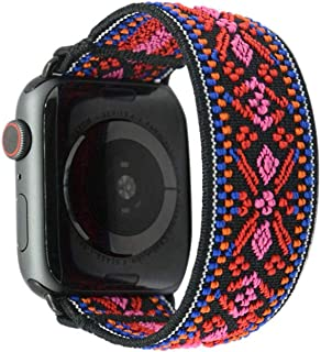 Tefeca Red Embroidery Ethnic Pattern Elastic Compatible/Replacement Band for Apple Watch 42mm/44mm (Black Adapter for 42mm/44mm Apple Watch, Wrist Size : 5.5-5.9 inch (L1))