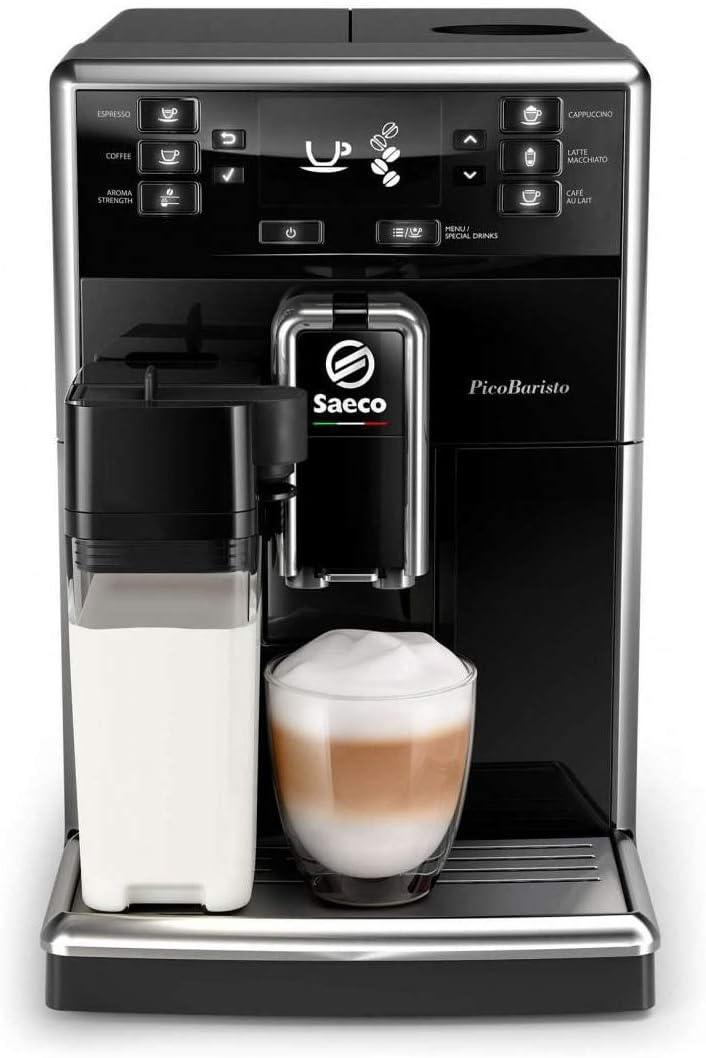 Philips Saeco PicoBaristo SM5460/10 - Cafetera Súper Automática, 11 Bebidas de Café Personalizables, Jarra de Leche Integrada, Limpieza Automática, Molinillo Ceramico