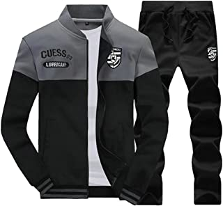 FSSE Mens Fleece 2 Pcs Outfits Athletic Casual Sweatshirt Pants Sweatsuits Tracksuits