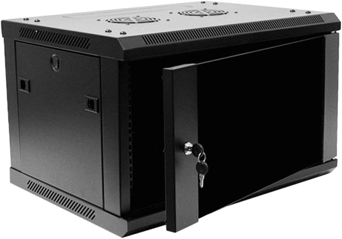 NavePoint 6U Deluxe IT Wallmount Cabinet Enclosure 19-Inch Server Network Rack with Locking Glass Door 16-Inches Deep Black