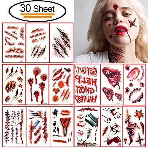 Vibury 30 Stück Halloween Narben Temporäre Tattoos, Zombie Narben Tattoos Terror Wunde Aufkleber mit Gefälschte Schorf Blut, Make-Up Für Halloween Party Requisiten und Cosplay Aufkleber