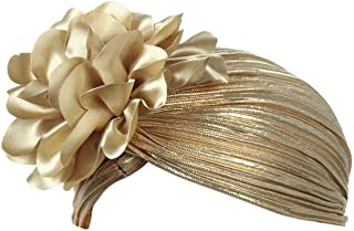 Vertily Hat Women Soft Fascinators Wrinkle Classic Flowers Beanie Turban Cap