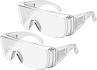 2PCS Safety Glasses Goggle Eye Protective Glasses Clear Anti-Fog/Anti-Scratch Breathable Laboratory Glassess