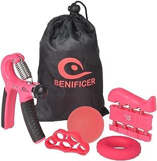 Benificer Hand Grip Strengthener 5 Pack Adjustable Grip Exerciser, Finger Stretcher Resistance Extensor Bands, Finger Strength Trainer, Hand Squeeze Ball & Exercise Ring for Finger Rehab