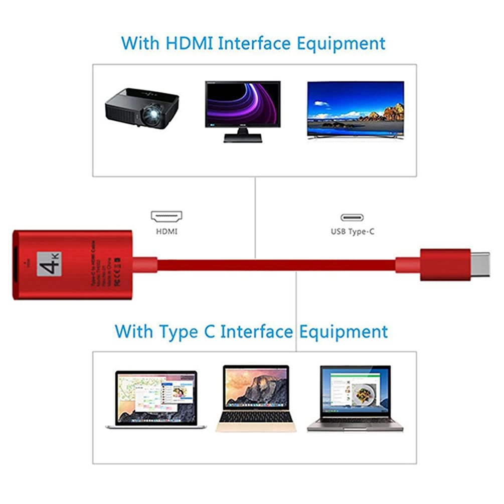 heaven2017 Universal Type-C USB 3.1 to HDMI HD 4K Video Adapter Cable for Mobile Phone Computer (Red)