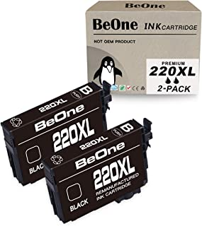 BeOne Remanufactured Ink Cartridge Replacement for Epson 220 XL 220XL T220 T220XL to Use with Workforce WF-2630 WF-2650 WF-2660 WF-2750 WF-2760, Expression Home XP-320 XP-420 XP-424 (Black, 2-Pack)