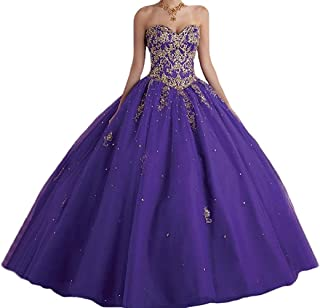 sweet 16 dresses purple and gold