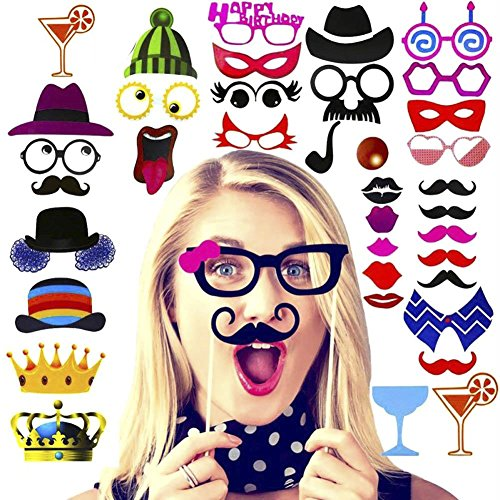 Amcooz Photo Booth Props with Emojis for Birthday, Wedding,Graduation 2018, Party - DIY photo booth Fun Accessories [90 PCS]
