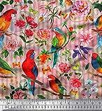 Soimoi Orange Satin Seide Stoff Streifen, Floral & Papagei