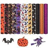 Tela de piel sintética,12 piezas de cuero de Halloween hojas de cuero de imitación Kit de fabricación de pendientes de cuero para Halloween DIY lazos pinzas para el cabello,16x21 cm