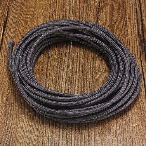 MASUNN 10 M 2 Cordon Couleur Vintage Twisted Tissu Câble Léger Fil Électrique-Gris