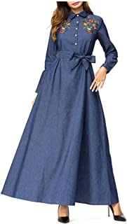 d068bffaa197ab QINJLI Damen Kleid, Knopf lang Abschnitt schwere bestickte lässige hohe  Taille Jeanskleid Muslim