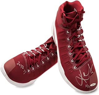 KEVIN LOVE SIGNED & INSCRIBED 2016-17 NIKE HYPERDUNK WINE/WINE SWOOSH GAME-WORN SHOES -L2