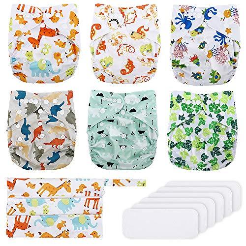 Reusable Nappies, Exqline Reusable Washable Baby Pocket Cloth Nappy...