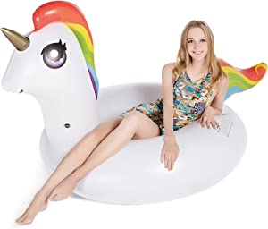 Jasonwell Inflatable Unicorn Pool Float Floatie 78'' Water Fun Summer Beach Swimming Tube Pool Floaty Party Toys Lounge Raft for Kids Adults