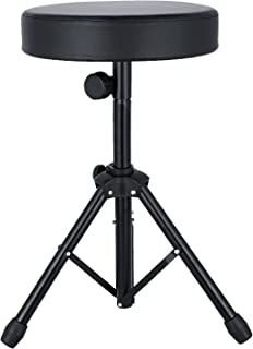 Universal Drum Throne Adjustable Padded Drum Stool with Anti-Slip Feet for Kids&Adult Black
