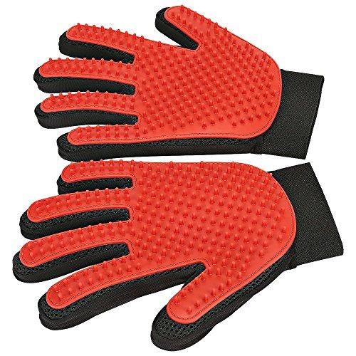 [Upgrade Version] Pet Grooming Glove - Gentle Deshedding Brush Glove - Efficient Pet Hair Remover Mitt - Enhanced Five Finger Design - Perfect for Dog & Cat with Long & Short Fur - 1 Pair (Red)