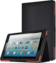 Poetic All-New Fire HD 10 Tablet Case (7th Gen 2017 and 9th Gen 2019 Release), Premium Slim Synthetic Leather Flip Stand Cover, Auto Sleep/Wake, Magnetic Closure, for Amazon Fire HD 10.1 Inch, Black