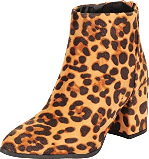 Cambridge Select Women's Pointed Toe Chunky Block Mid Heel Ankle Bootie
