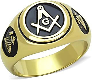 Nationalonlinediscounts Stainless Steel Masonic Free Mason Lodge Pyramid Sides Gold Electroplated Round Black Ring Sizes 8,9,10,11,12 & 13