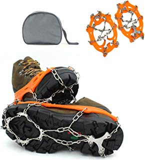 DOSWODE Traction Cleats Crampons Ice and Snow Boot Spikes Anti-slip Hiking Climbing with 12 Teeth Stainless Steel