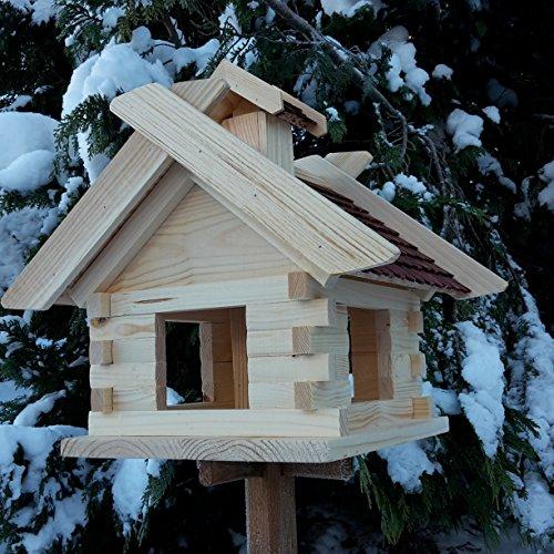 Großes XXL Vogelhaus Schreinerarbeit Futterhaus Vogelhäuschen — Wetterschutz lasiert — Blockhaus Holz Vogelhäuser (Braun) - 3