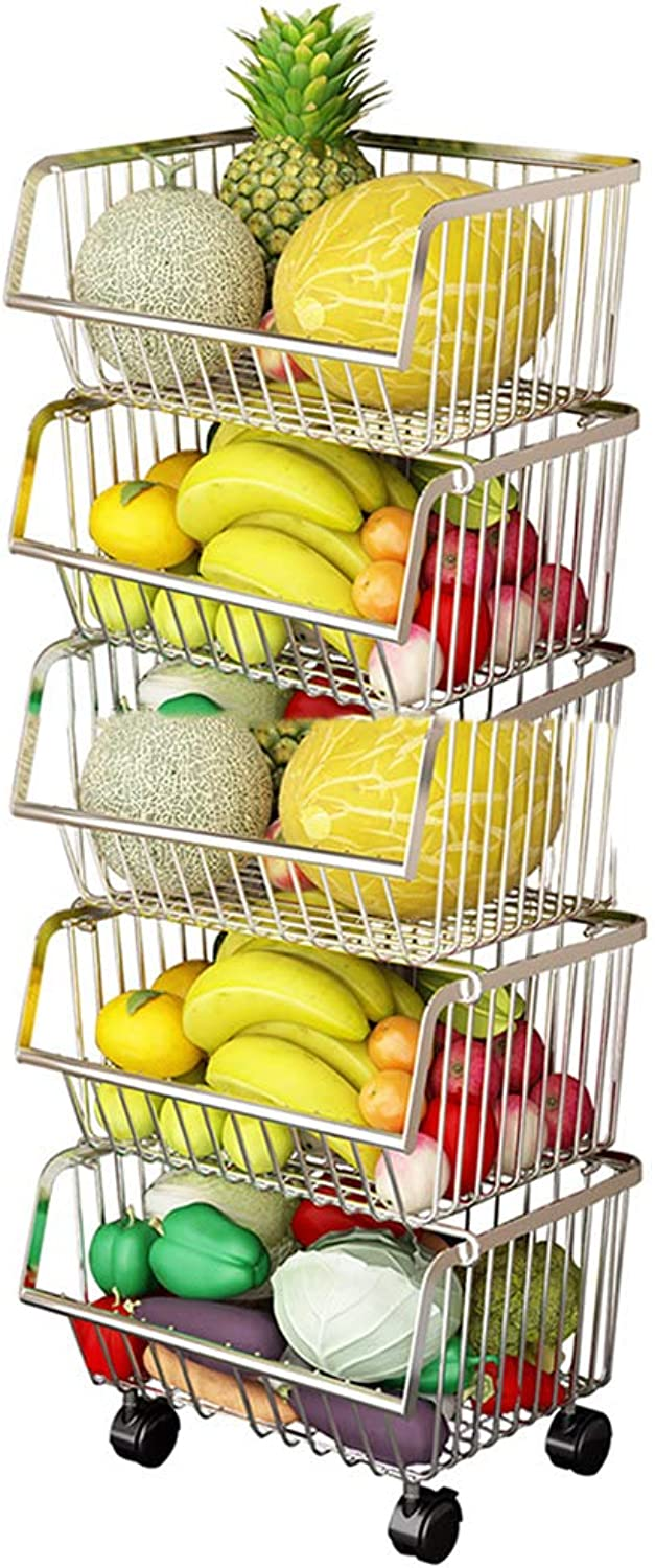 YANZHEN Kitchen Shelf Wire Shelving Floor-Standing Stable Fruit and Vegetable Basket with Universal Wheel Stainless Steel, 2 color 3 Size (color   Silver, Size   41x35x110cm)