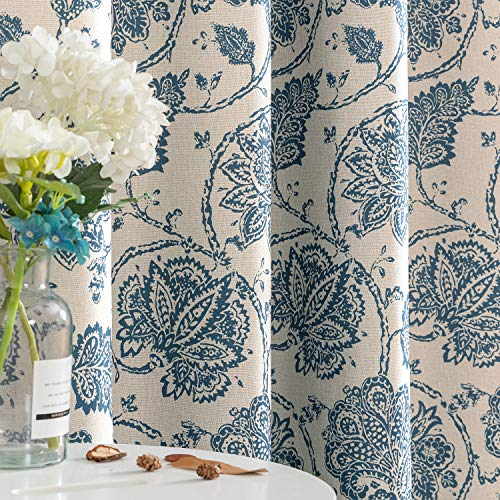 jinchan Floral Scroll Printed Linen Textured Curtains Grommet Top Ikat Flax Textured Medallion Design Jacobean Room Darkening Curtains Retro Living Room Window Covering Blue 84 inch Long Two Panels
