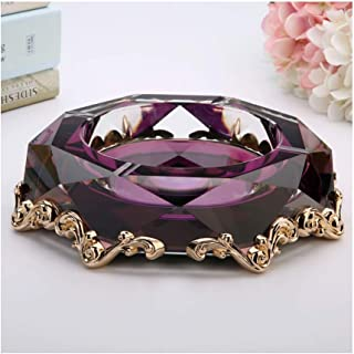 Ashtray, Creative Alloy Crystal Ashtray Glass Fashion Personality Big Ashtray Living Room Ashtray European 22x5cm (Color: Clear),Colour:Purple (Color : Purple)