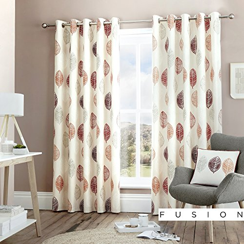 Fusion - Skandi Leaf - 100% Cotton Ready-Made Pair of Eyelet Curtains - 66' Width x 90' Drop (168 x 229cm) in Red