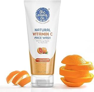 The Moms Co Natural Vitamin C Face Wash I Clean & Brighten Skin I Oil Free Look I Instant Glow I Orange Beads I 100ml